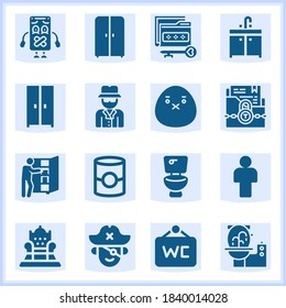 Vector set of 16 filled web icons with high quality on following themes confidential folder, folding clothes, wardrobe, toilet, folder, man, long john silver, anonymous