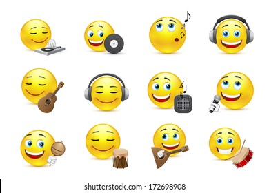 vector set of emoticons in different musical styles