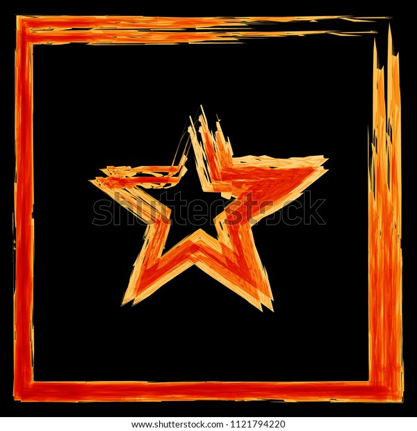 Vector set of fire frames from a square and a star. For registration of summer barbecues and coals in postcards and products of burning.