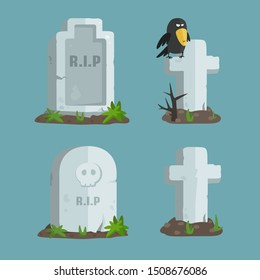 Vector set of Halloween icons with the image of tombstones. Tombstone RIP, Tombstone with a skull, Grave cross with a crow sitting on it, a tomb cross