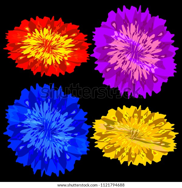 Vector set of neon colors for design of summer cards and natural projects in watercolor style. For fabric or garment elements with accessories.