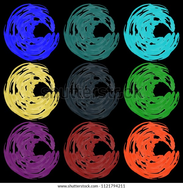 Vector set of paintbrushes in calm colors. For knitting or ice cream.