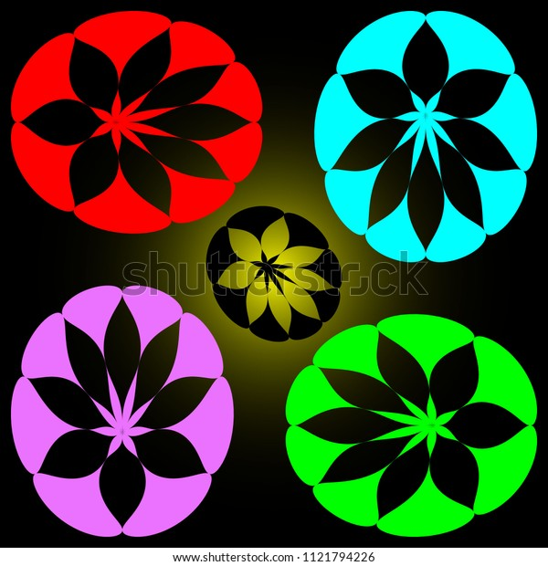 Vector set of petals of different colors. For decoration of summer patterns.