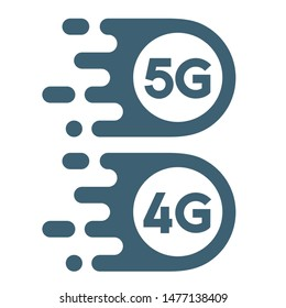 Vector Tech icon 4g and 5g internet sign. Image Wireless internet image 4g 5g symbol. Illustration 4g 5g internet in flat style