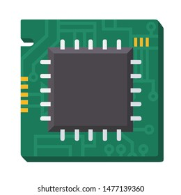 Vector tech icon computer processor chip. Illustration computer chip circuit. Image CPU Chip in flat style