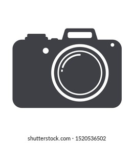 Vector technology gadget icon photo camera. Image photo camera silhouette sign symbol. Illustration photo camera in flat style