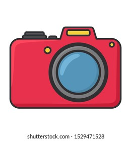 vector technology gadget icon photo camera. Image red photo camera silhouette sign symbol. Illustration photo camera in flat style