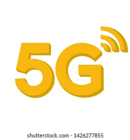 Vector technology icon network sign 5G. Image 3d wireless 5g sign yellow color.  Illustration 5g internet symbol in flat line minimalism style.