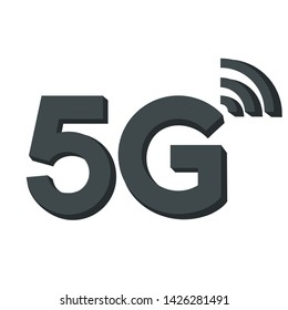 Vector technology icon network sign 5G. Image 3d wireless internet 5g sign black color. Illustration 5g internet symbol in flat line minimalism style.
