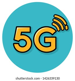 Vector technology icon network sign 5G. Image  internet wireless 5g sign yellow color. Illustration 5g internet symbol in flat line minimalism style.