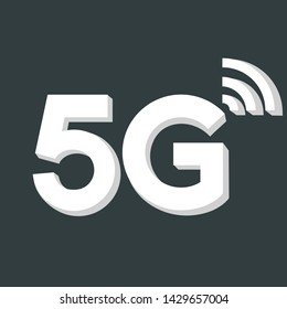 Vector technology icon network sign 5G. Image 3d wireless 5g sign white color.  Illustration 5g internet symbol in flat line minimalism style.
