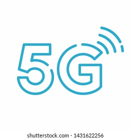 Vector technology icon network sign 5G. Illustration wireless 5g internet symbol in flat line minimalism style.