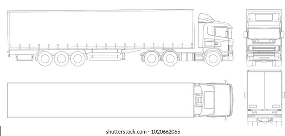 Vector truck trailer outline. Commercial vehicle. Cargo delivering vehicle. View from side, front, back, top, illustration