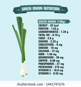Vector Vegetable icon nutritional value green onion. Cartoon calories and nutritional value of green onions. Illustration of food vegetable nutritional value green onion in flat style