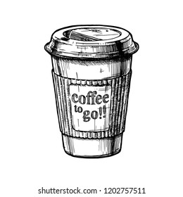 Vector vintage hand drawn illustration of coffee to go in paper cups.