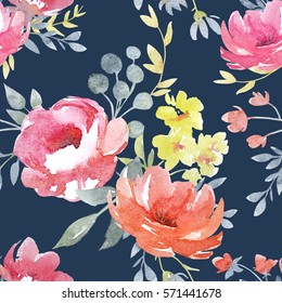 Vector watercolor  floral pattern, delicate flowers, yellow,  pink Roses  flowers on a blue background