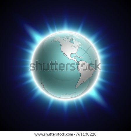 Vector World Map Rising Sun Solar Stock Illustration Royalty Free
