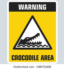 Vector Yellow Dangerous crocodile square sign icon. Sign yellow square with a crocodile sign and text: Warning. Crocodile Area. Illustration of a crocodile symbol sign in flat minimalism style.