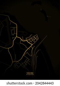 Veere, Netherlands City Map - Veere City Gold Map Poster Wall Art - Veere City in Netherlands Art Print