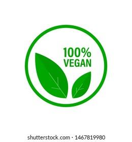 Vegan 100% icon. Vegan label. Isolated illustraion.