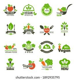 Vegan emblem. Fresh eco healthy food market vegetarian emblems green ecology symbols isolated