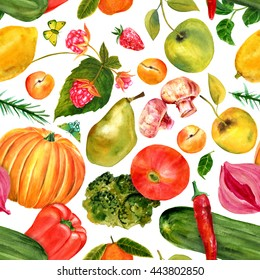Vegan food seamless background pattern with butterflies: watercolour drawings of beautiful fruits and vegetables forming tasty repeat print; restaurant menu or groceries store decoration banner design