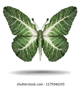 Vegan green leaves symbol and veganism or vegetarian concept as a plant based vegetable regimen diet lifestyle as kale leaves shaped as a flying butterfly in a 3D illustration concept.