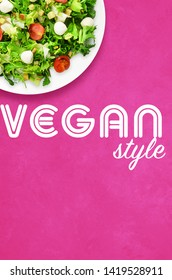 Vegan style pink poster with salad