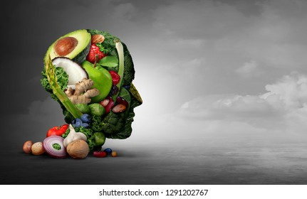 Vegan and vegetarian psychology concept with a group of fruit nuts beans and vegetable as an eating lifestyle and  thinking healthy diet as fresh produce shaped as a head in a 3D illustration style.