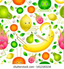 Vegan Yoga. Fruits do yoga. Seamless pattern. Banana, lemon, orange, apple, pear, pitahaya For fruit shop food cafe fitness club for children