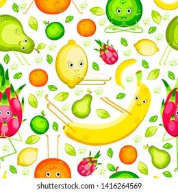 Vegan Yoga. Fruits do yoga. Seamless pattern. Banana, lemon, orange, apple, pear, pitahaya Flat style For fruit shop food cafe fitness club