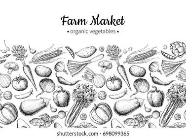 Vegetable hand drawn vintage illustration. Farm Market poster. Vegetarian set of organic products. Detailed food drawing. Great for menu, banner, label, logo, flyer