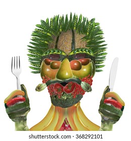 vegetable man with knife and fork isolated on white