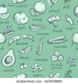 Vegetable, nuts and greens graphic sketch pattern with lettering, rasterized version