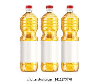 Vegetable oil plastic bottle isolated on white background. Packaging mockup with realistic bottle. 3d rendering - illustration