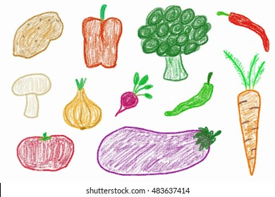 Vegetable Crayon Drawing Images Stock Photos Vectors Shutterstock
