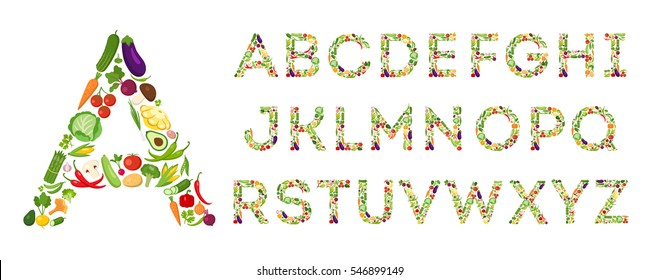 Vegetables alphabet set on white background. Fresh and ripe letters from different vegetables like eggplant, tomato, lettuce, pepper and more.