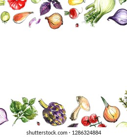 Vegetables painted with watercolor on a white background. Onion, pepper, tomatoes, greens, fennel, artichoke. A colored sketch of vegetables with mascara and paint. Farm products.