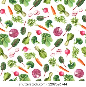 Vegetables Pencil Drawing Seamless Pattern
