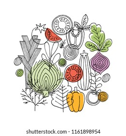 Vegetables round composition. Linear graphic. Vegetables background. Scandinavian style. Healthy food.