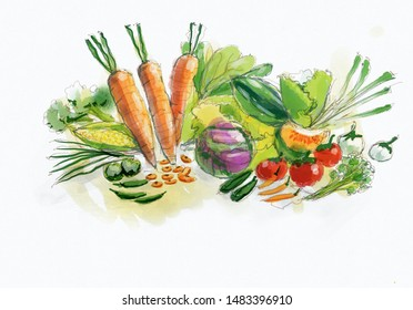 Vegetables water color painting on laptop.