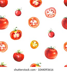 Vegetables watercolor set. Seamless pattern. Fresh organic food. Set of different kinds of tomatoes: green, orange and red colors. Simple painting sketch.