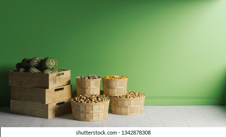 Vegetables in wooden boxes. Vegetables stacked in large wooden boxes. Wooden boxes with vegetables and fruits near the green wall.