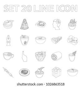 Vegetarian dish outline icons in set collection for design.Vegetable and milk food bitmap symbol stock web illustration.