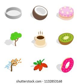 Vegetarian eatery icons set. Isometric set of 9 vegetarian eatery icons for web isolated on white background