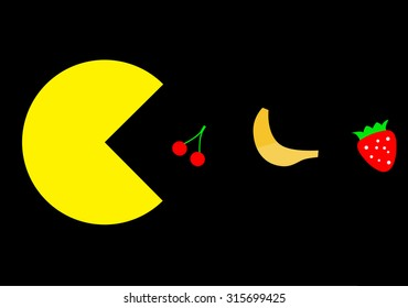 Vegetarian Pac-Man eating fruit, famous video game theme illustration
