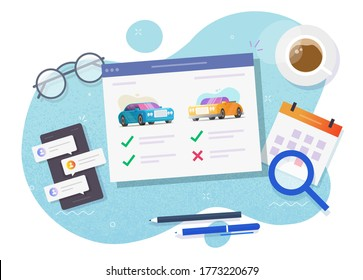 Vehicle auto rental comparing and choosing features online store website or auto and car web digital internet auction shop with automobiles review and history details, concept of buying, selling image