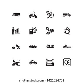 Vehicle icon set and cargo ship with ce marking, moving truck and scooter. Plane related vehicle icon  for web UI logo design.