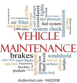 Vehicle Maintenance Word Cloud Concept with great terms such as wipers, oil change, brakes, tires, lights, coolant and more.