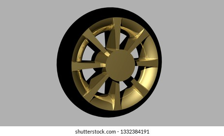 Vehicle modern wheel 3D render view with grey background